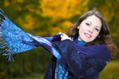 Young woman portrait with shawl — Stock Photo