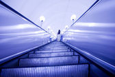 Move escalator in subway station — Stock Photo