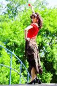 Girl in red dance — Stock Photo