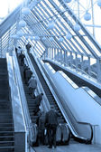 Diagonal escalators stairway in center — Stock Photo