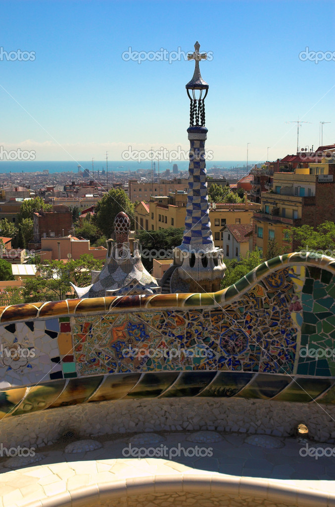 Spice-cake houses in Park Guell by Antoni Gaudi, Barcelona, Spain  Stock Photo #1327951