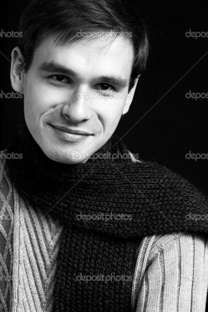 Portrait of smiling man with the scarf  Stock Photo #1328217