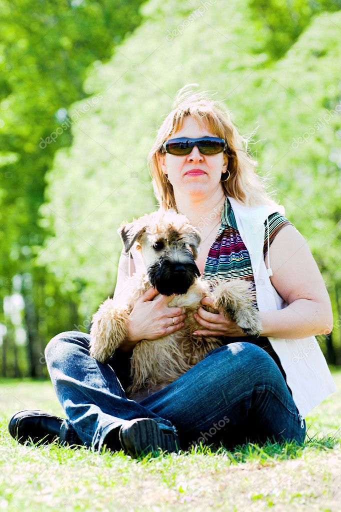 Irish soft coated wheaten terrier and woman   Stock Photo #1328290