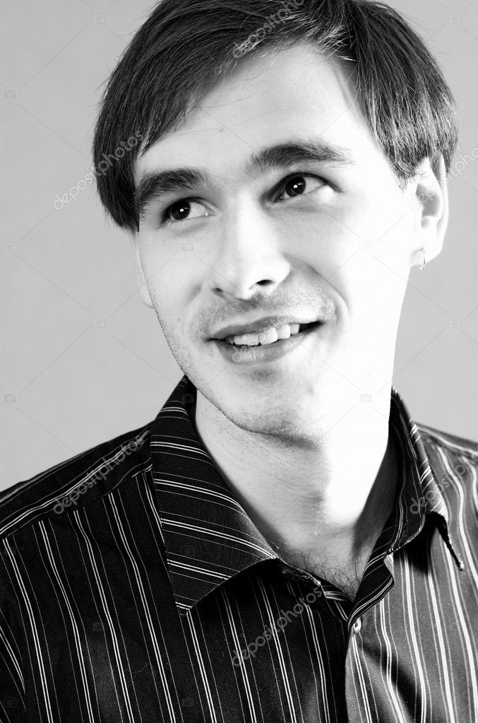 Attractive smiling man, black and white — Stock Photo #1328316