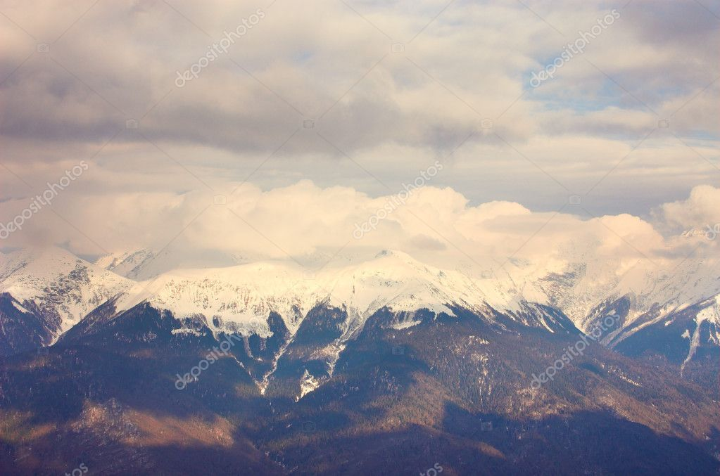 Panoramic landscape with mountains, Red Polyana, Sochi, Russia — Stock Photo #1328353