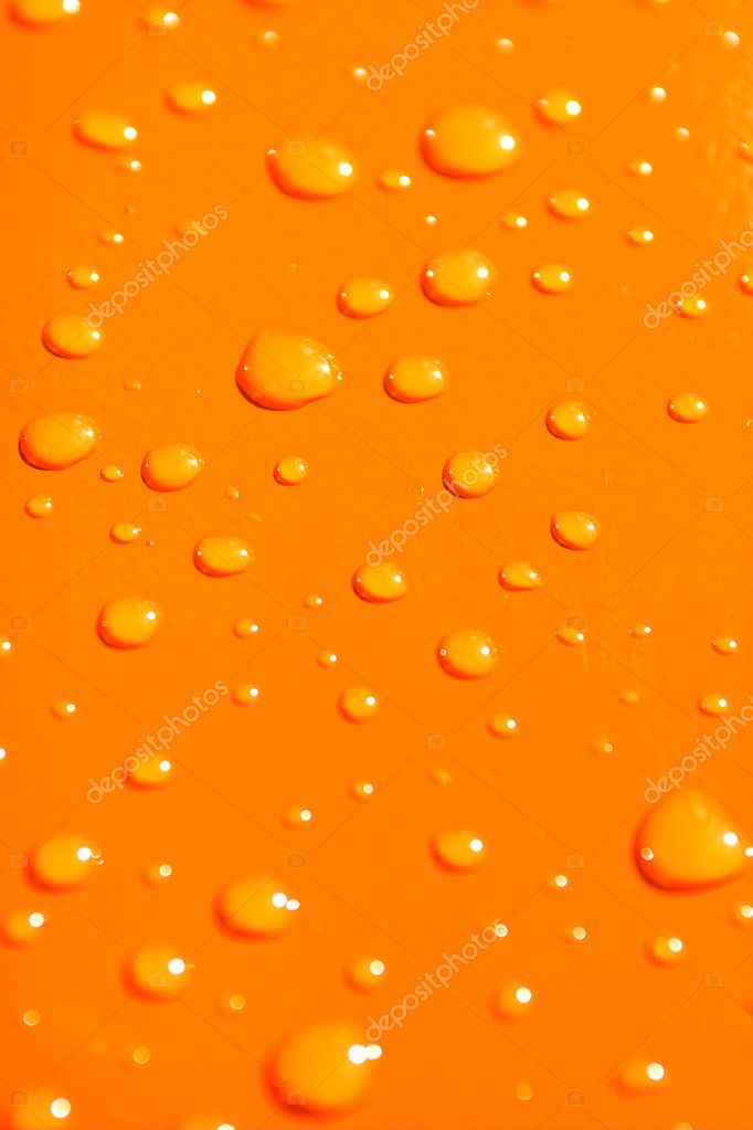 Water drops on orange metal macro background — Stockfoto #1328371