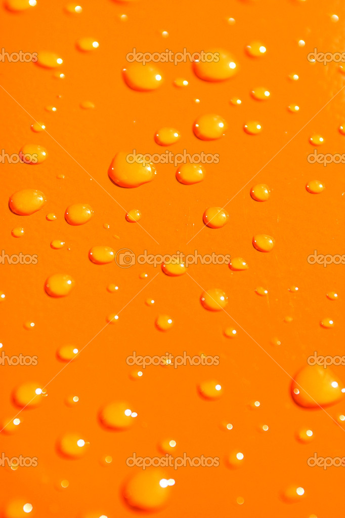 Water drops on orange metal macro background  Stockfoto #1328371
