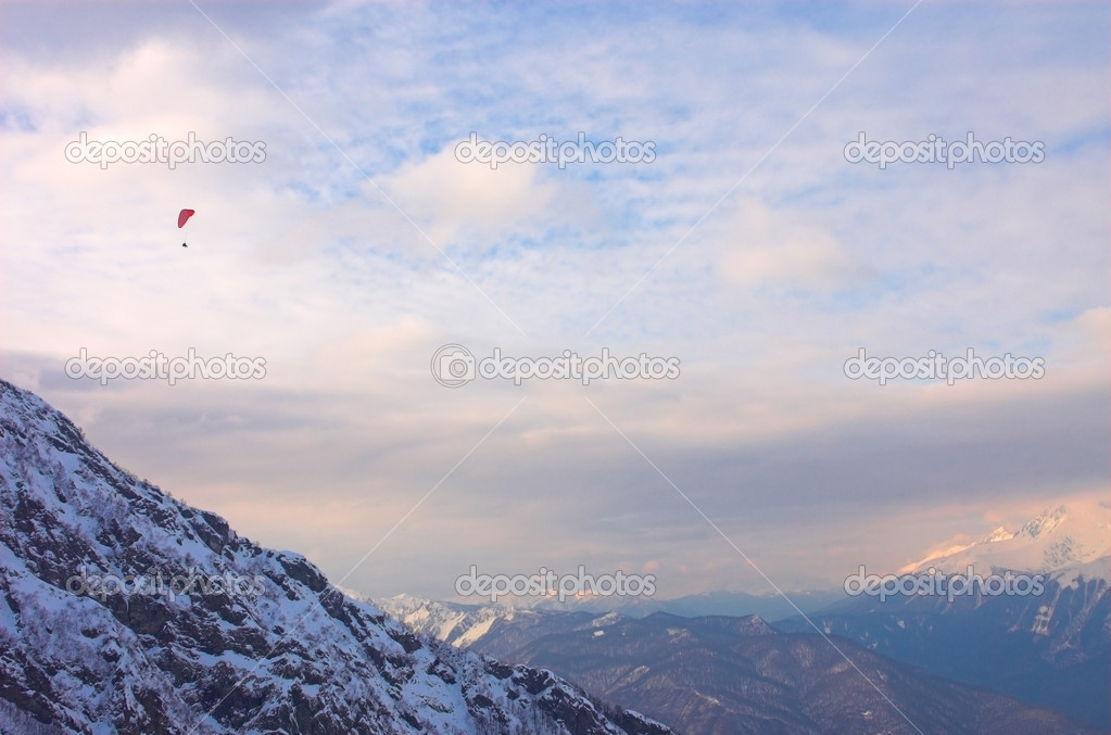 Paraglide in mountains, Red Polyana, Sochi, Russia — Stock Photo #1328757