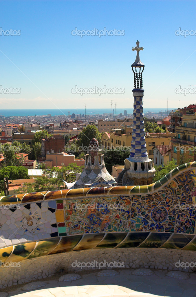 Spice-cake houses in Park Guell by Antoni Gaudi, Barcelona, Spain — Stock Photo #1328948