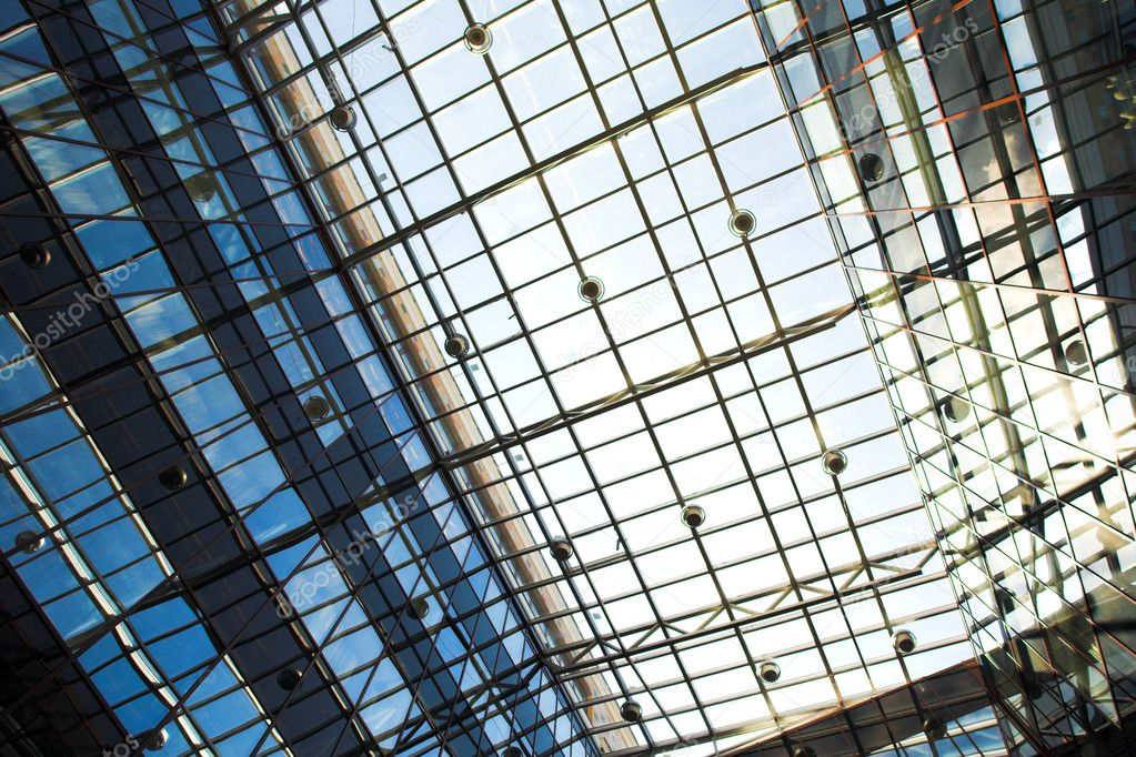 Blue protection ceiling inside business centre — Stock Photo #1329374