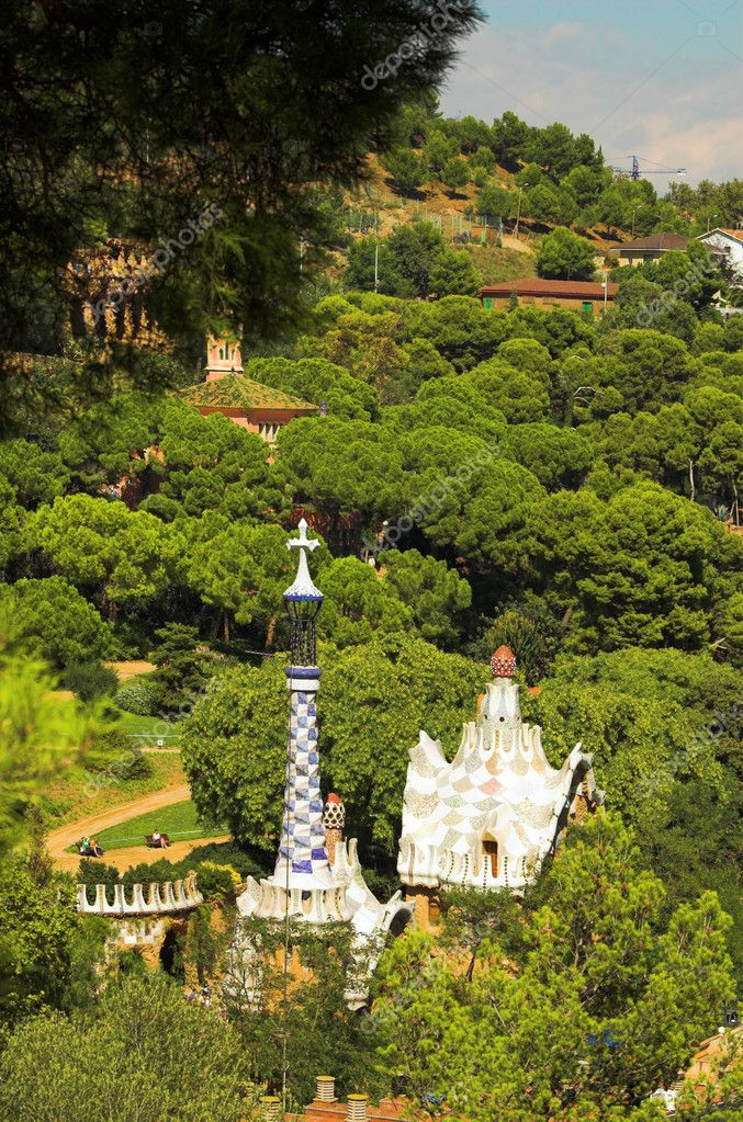 Spice-cake houses in Park Guell by Antoni Gaudi, Barcelona, Spain — Stock Photo #1329716