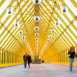 Yellow glass corridor — Stock Photo