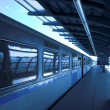Blue train at subway - Stock Photo