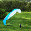 Colorful extreme paraglide on grass - Stok fotoğraf
