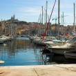 Vessel yachts in Vieux port in Marseille — Stock Photo