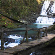 Stock Photo: Waterfall with the wood bridge