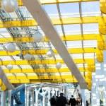 Yellow corridor blue sky windows — Stock Photo #1331145