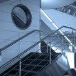 Stairs and windows in airport - Foto Stock