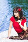 Girl in red — Stockfoto
