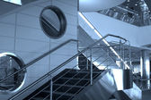 Treppen und fenster in flughafen — Stockfoto