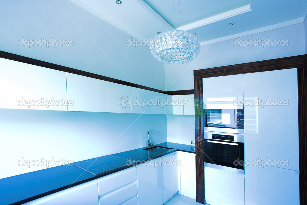 Blue kitchen interior corner in white — Stock Photo #1330743