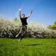 Stock Photo: Active jumping man