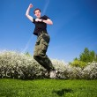 Active jumping man — Stock Photo