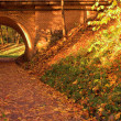 Brick bridge in the autumn forest - Stock Photo