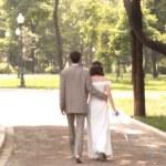 Walking married couple — Stock Photo