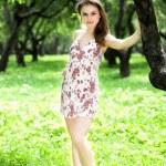 Girl stay in dress — Stock Photo