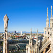 Foto Stock: Panorama from Duomo roof, Milan, Italy