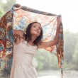 Stockfoto: Girl stay under rain drops