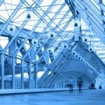 Blue glass corridor in bridge — Stock Photo #1381164