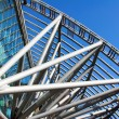 Futuristic business center metal roof - Stock Photo
