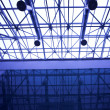 Blue glass ceiling in office — Stock Photo