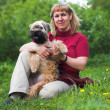Terrier dog and woman - Stock fotografie