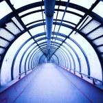 Blue glass corridor — Stock Photo #1381892