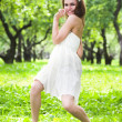 Stock Photo: Girl dance in white dress