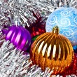 White tinsel and christmas balls — Stok fotoğraf