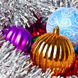 White tinsel and christmas balls — Zdjęcie stockowe