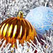 White tinsel and christmas balls — Stock Photo #1382931