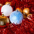 Tinsel and christmas balls — Stock fotografie
