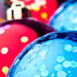 Red and blue christmas balls - Stock Photo