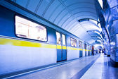 Train on platform in subway — Stock Photo