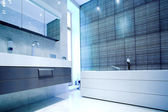Bathroom with Mirror and pan — Stock Photo