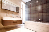 Bathroom with Mirror and tub — Stock Photo