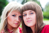 Two girls in park — Stock Photo