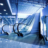 Escalators in exhibition — Stock Photo
