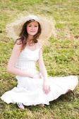 Smiling girl in hat — Stock Photo