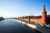 Kremlin wall and Moskva river — Stock Photo
